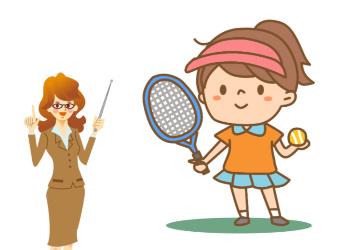 テニスと向き合う子供
